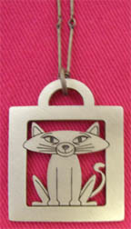Cute Kitty cut out lead-free pewter cat-themed pendant on chain