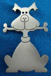Dog-themed pewter brooch