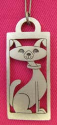 Stylized Pendant: Friendly Doggy cut out rectangle lead-free pewter dog-themed pendant on a chain