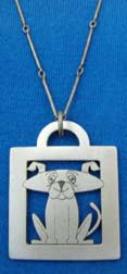 Photo: Cute Doggy lead-free pewter dog-themed pendant on a slender chain