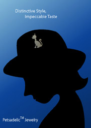 Silhouette of woman with a Petsadelic brooch pinned to her hat