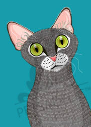 Digital art poster: Oliver the gray tabby cat