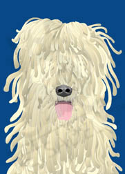 Digital art greeting card: Reggae Reggie the Komondor Dog