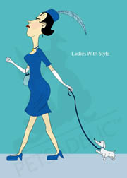 Digital art dog and pet owner greeting card: A snooty lady walks her snooty little dog. Front copy reads: Ladies With Style